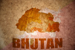 Bhutan vintage map Stock Photos