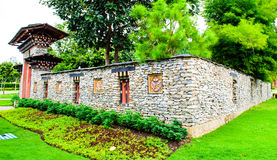 Bhutan walled enclosure. Walled enclosure in traidtional Bhutan style Stock Images
