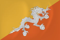 Bhutan waving flag Stock Image