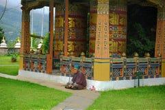 Bhutan widoku mantra z naturą i ludźmi obraz royalty free