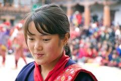 Bhutanese γυναίκα στο μοναστήρι Gangtey, Gangteng, Μπουτάν Στοκ Εικόνα