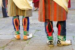Bhutanese boots, Trongsa, Bhutan. Traditional bhutanese men boots, Trongsa, Bhutan. The national dress code, Driglam Namzha, is the official behaviour and dress stock photo