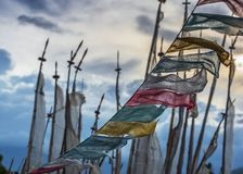 Bhutanese Buddhist Longta , wind horse , Prayer flags , Bhutan. Prayer flags are strung up to purify the air and pacify the mountain gods in Tibetan culture ,and royalty free stock photography