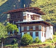 Bhutanese Buddhist Temple on the Mountain. A Bhutanese Buddhist Monastery in Timphu, Bhutan Royalty Free Stock Photos
