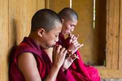 Bhutanese Buddhist novice monks playing flute , Bhutan. Bhutanese Buddhist monks sitting on floor and playing bamboo flute .before play the Tibetan horn in puja stock image