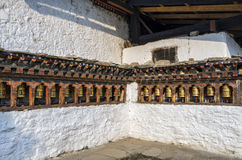 Bhutanese buddism praying wheels at Kyichu Lhakhang Temple, Paro, Bhutan Stock Images