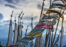 Bhutanese Buddyjski Longta, wiatrowy koń, Modlitewne flagi, Bhutan fotografia royalty free