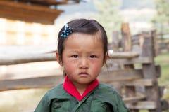 Bhutanese child, Gangteng, Bhutan Royalty Free Stock Images