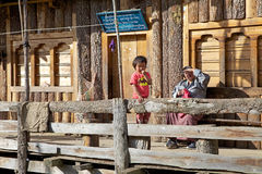 Bhutanese child and mother, Bhutan Royalty Free Stock Image