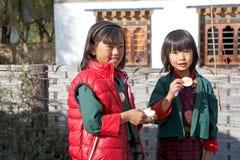Bhutanese children, Gangteng, Bhutan Royalty Free Stock Photos