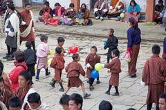Bhutanese children at the Gangtey Monastery, Gangteng, Bhutan Stock Photos
