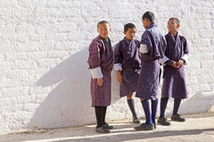Bhutanese children at the Trongsa Dzong, Trongsa, Bhutan Stock Photos
