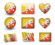 The Bhutanese flag. Set of icons and flags. glossy and matte on a white background Stock Photography
