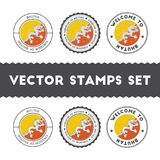 Bhutanese flag rubber stamps set. National flags grunge stamps. Country round badges collection Royalty Free Stock Photos