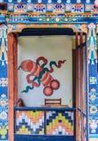 Bhutanese house with traditional phallus paintings near Punakha, Bhutan. Stock Photography