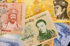 Bhutanese Ngultrum banknotes stock images