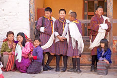 Bhutanese people at the Trongsa Dzong, Trongsa, Bhutan Stock Images