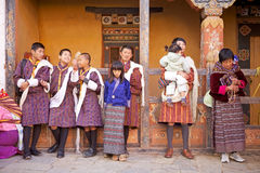 Bhutanese people at the Trongsa Dzong, Trongsa, Bhutan Royalty Free Stock Images