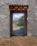 Bhutanese single door. In the Temple of Bhutan Stock Images