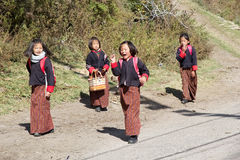 Bhutanese students, Chhume village, Bhutan Royalty Free Stock Images