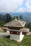 A Bhutanese style stupa at the Dochula Pass in Bhu Royalty Free Stock Image
