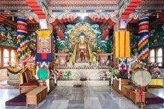 Bhutanese Temple, Bodhgaya. BODH GAYA, INDIA - NOVEMBER 15, 2015: Royal Bhutan Monastery (Bhutanese Temple) interior, its near Mahabodhi Temple in Bodh Gaia Stock Image