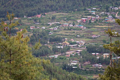 Bhutanese town in a valley Royalty Free Stock Image