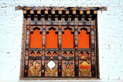 Bhutanese unique architectural details of wooden doors Stock Photo