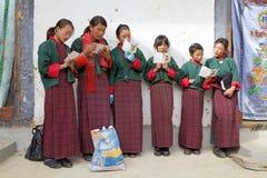 Bhutanese women at the Gangtey Monastery, Gangteng, Bhutan Stock Photos