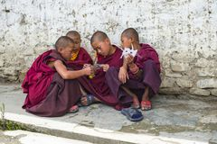 Bhutanese young novice monks play game , Bhutan. Four cute Bhutanese young novice monks playing game and discussing very seriously . boys make masks themselves royalty free stock images