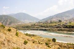 Bhutans longest suspension bridge Stock Photo