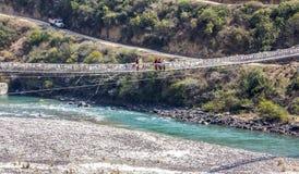 Bhutans longest suspension bridge Stock Image