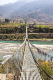 Bhutans longest suspension bridge Stock Image