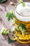 Bière avec des houblon images libres de droits