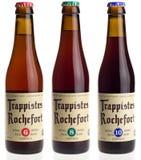 Bière belge Rochefort 6, 8, et 10 de trappist d'isolement sur le blanc Images libres de droits