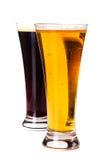 Bière blonde allemande en verre et bière foncée Image stock