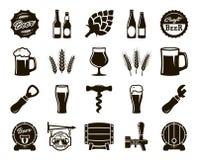 Bière, brassant, ingrédients, culture du consommateur Ensemble d'icônes noires illustration libre de droits