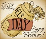 Bière délicieuse dans une boîte avec le ruban pour le jour de bière, illustration de vecteur illustration de vecteur