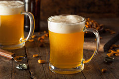 Bière d'or dans une chope en grès en verre Photos stock
