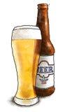 Bière et bouteille Images stock