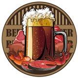 Bière et casse-croûte, étiquette de bière Photo libre de droits