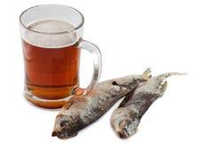 Bière et poissons Photographie stock