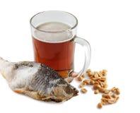 Bière et poissons Photo libre de droits