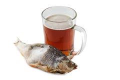 Bière et poissons Photos stock