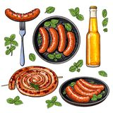 Bière et saucisses, grand ensemble de nourriture de partie de barbecue Illustration Stock
