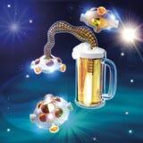 Bière et UFO Photos libres de droits