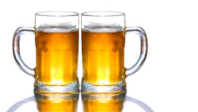Bière fraîche de tasse d'isolement Photographie stock libre de droits