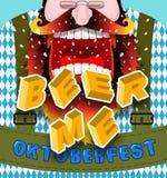 Bière je cri Cris fâchés et agressifs d'homme Barbe et la MU rouges illustration de vecteur