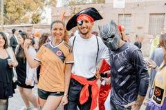 BIÈRE SHEVA, ISRAËL - 1ER MARS 2018 : Mascarade de rue de Purim sur la rue en bière-Sheva Jour heureux de purim en Israël Images stock