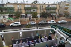 BIÈRE-SHEVA, ISRAËL - 20 FÉVRIER : Neigent dans la ville de la bière-Sheva à 7h30 du matin sur Fabruary 20, 2015 dans Negev, l'Is Photo stock